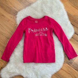 Faded Glory Pink Sequin Princess Long Sleeve Top